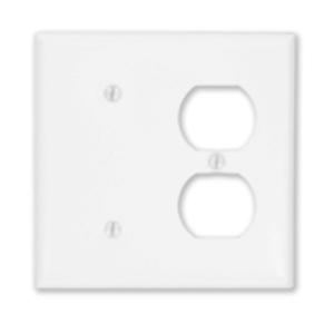 Leviton 88087 Combo Wallplate, 2-Gang, Blank/Duplex, Metal, White, Standard