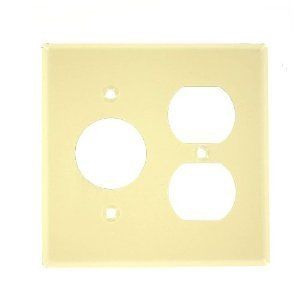 Leviton 86046 Comb. Wallplate, 2-Gang, Single Receptacle/Duplex, Metal, Ivory