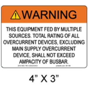 PV Labels 05-108 PV SOLAR WARNING LABEL 4IN X 3IN
