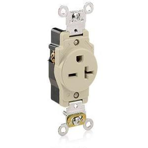 Leviton 5461-I Single Receptacle, 20A, 250V, Ivory, Heavy Duty, Back/Side Wired