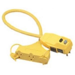 Coleman Cable 028388802 3-Outlet GFCI, Right Angle, 12/3 SJEOW, 50', Yellow