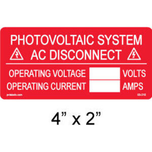 "PV Labels 03-210 Solar Warning Label, System AC Disconnect,  4"" X 2"""