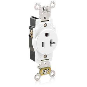 Leviton 5361-W Single Receptacle, 20A, 125V, White, Heavy Duty, Back/Side Wired