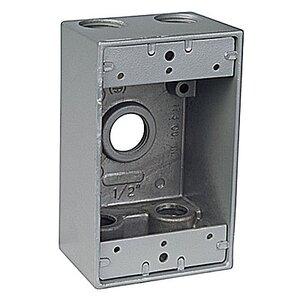 "Red Dot IH5-2-LM Weatherproof Outlet Box, 1-Gang, 2"" Deep, (5) 3/4"" Hubs, Aluminum"