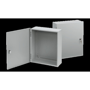 """Hoffman A2420AT1PP Enclosure, Type 1, Hinged Cover, Size: 24"""" x 20"""" x 6.62"""", Steel/Gray"""