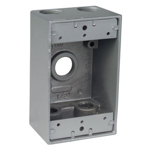 "Red Dot IH5-1-LM Weatherproof Outlet Box, 1-Gang, 2"" Deep, (5) 1/2"" Hubs, Aluminum"