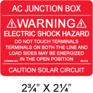 "PV Labels 03-219 Solar Warning Label, Electric Shock Hazard, 2.75"" x 2.25"""