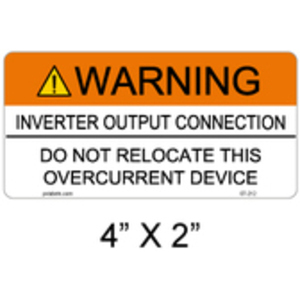 PV Labels 07-212 WARNING INVERTER OUTPUT CONNECTION DO NOT R