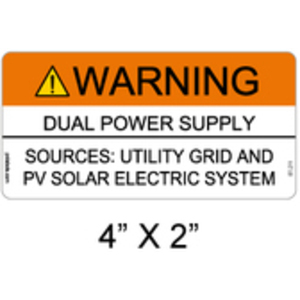 PV Labels 07-211 WARNING DUAL POWER SUPPLY SOURCES UTILITY G