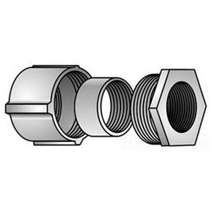"OZ Gedney 4-75 Rigid Three-Piece Coupling, 3/4"", Threaded, Malleable"