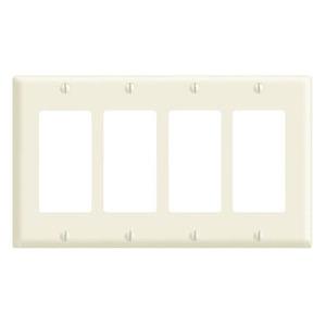 Leviton 80412-NI Decora Wallplate, 4-Gang, Nylon, Ivory