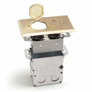 Lew SWB-2-LR Floor Plate Assembly, Receptacle Box, Brass