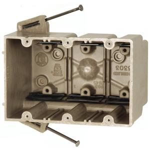 """Allied Moulded 3303-NK Switch/Outlet Box, 3-Gang, Depth: 3"""", Nail-On, Non-Metallic"""