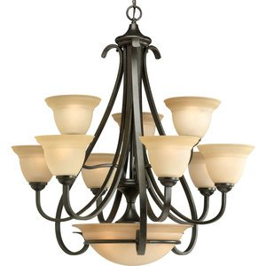 Progress Lighting P4418-77 Chandelier, 12 Light, 100W, Forged Bronze