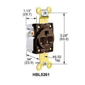 Hubbell-Wiring Kellems IG5361 SGL RCPT, IG, 20A 125V,