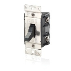 Leviton MS402-DS Manual Motor Switch, 40A, 600VAC, Toggle Style, 2P, Black