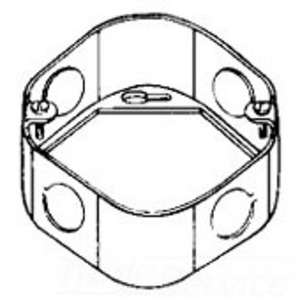 "Cooper Crouse-Hinds TP286 4"" Octagon Box Extension Ring, 1-1/2"" Deep, 1/2 & 3/4"" KOs, Metallic"