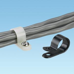"Panduit CCS25-S8-C Fixed Diameter Cable Clamp, Nylon, White, 1/4"" Max Bundle"