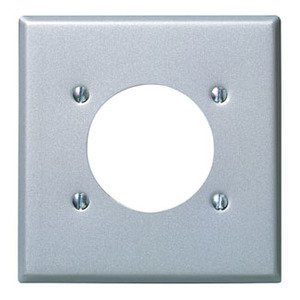 "Leviton 4934 2-Gang Single Rcpt Wallplate, (1) 2.150"" Hole, Alum Steel"