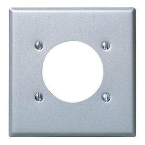 "Leviton 4934 2-Gang Single Rcpt Wallplate, (1) 2.150"" Hole, Alum Steel"