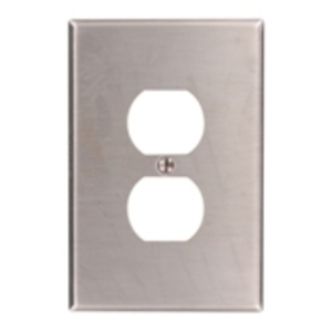 Leviton 84103-40 Duplex Receptacle Wallplate, 1-Gang, 302 Stainless Steel, Oversized