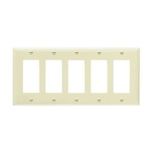 Pass & Seymour TP265-I Decora Wallplate, 5-Gang, Nylon, Ivory