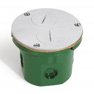 "Lew 812-DFB-A Floor Box Assembly, Duplex Receptacle, 4"" Diameter, Metallic"