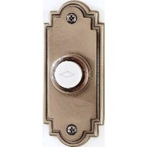 "Broan PB15LSN Door Chime Push-Button, Lighted, 1-1/4"" x 3"", Satin Finish"
