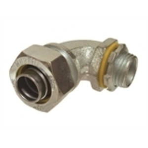 "Hubbell-Raco 3442 Liquidtight Connector, 45°, 1/2"", Non-Insulated, Malleable Iron"
