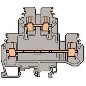 Entrelec 011527122 Terminal Block, Feed Through,6mm, Double Deck, Type: M 4/6.D2, Gray