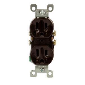 Leviton 5320-CP Duplex Receptacle, 15 Amp, 125 Volt, Brown