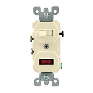Leviton 5226-T Duplex 1-Pole/Neon Pilot AC Combination Switch, 15A, 120V, Light Almond