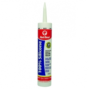 Red Devil 0816/OI Silicone Sealant, White, 9 Ounce Caulk