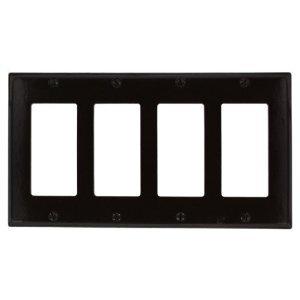 Leviton 80412-E Decora Wallplate, 4-Gang, Thermoset, Black