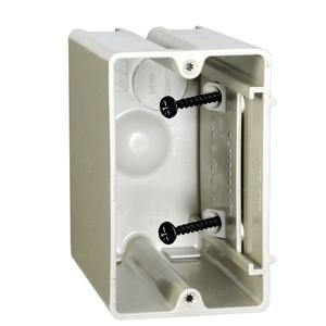 "Allied Moulded SB-1 Switch/Outlet Box, 1-Gang, Adjustable, Depth: 3-9/16"", Non-Metallic"