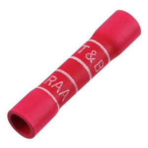 Thomas & Betts 2RA18X Butt Connector, Vinyl Insulated, 22 - 18 AWG, Red, Pack of 100