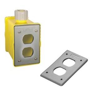 Hubbell-Kellems HBLPOB1D Portable Outlet Box, Non-Metallic, Includes 2 Duplex Cover Plates