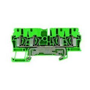 Weidmuller 1608660000 Terminal Block, Grounding, Yellow/Green, 5.1mm Width, DIN Rail Mount