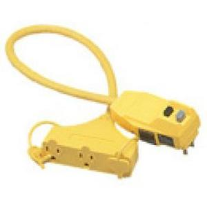 Coleman Cable 028328802 3-Outlet GFCI, Right Angle, 12/3 SJTW, 2', Yellow