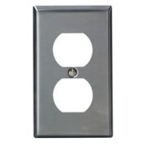 Leviton SSJ8-40 Duplex Receptacle Wallplate, 1-Gang, Stainless Steel, Midway
