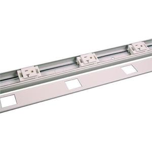 """Wiremold V24GB612 Plugmold Outlet Strip, Steel, Ivory, 6 Outlets, 12"""" Centers, 6' Long"""