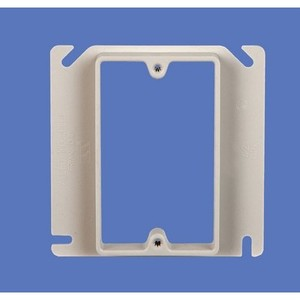 """Allied Moulded 9345-58 4"""" Square Box Device Ring, 1-Gang, 3/4"""" Raised, Non-Metallic"""