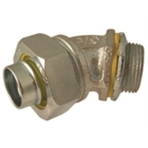 "Hubbell-Raco 3443 Liquidtight Connector, 45°, 3/4"", Non-Insulated, Malleable Iron"