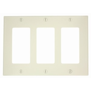 Leviton 80411-NT Decora Wallplate, 3-Gang, Nylon, Lt. Almond