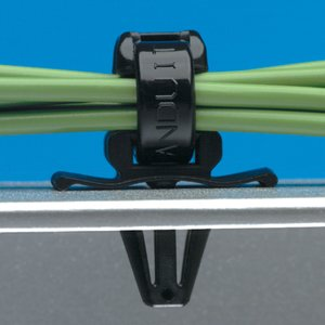 "Panduit PWMS-H25-M0 Winged Push Barb Cable Tie Mount, 3/4"", Push Barb, Nylon, Black"