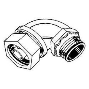 "Hubbell-Raco 3548 Liquidtight Connector, 90°, 2"", Malleable Iron, Insulated"