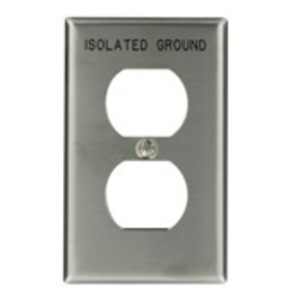 """Leviton 84003-IG Duplex Receptacle Wallplate, 1-Gang, Engraved """"Isolated Ground"""" Stainless"""