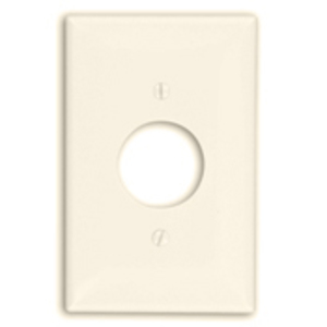 "Leviton PJ7-T Single Receptacle Wallplate, 1-Gang, 1.406"" Hole, Nylon, Lt. Almond, Midway"