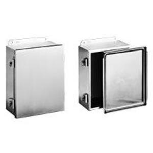 """Hoffman A12106NFSS Enclosure, NEMA 4X, Clamp Cover, Stainless Steel, 12"""" x 10"""" x 6"""""""