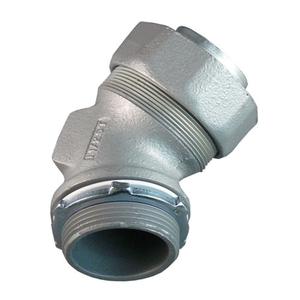 "Appleton ST-45150 Liquidtight Connector, 45°, 1-1/2"", Non-Insulated, Malleable Iron"
